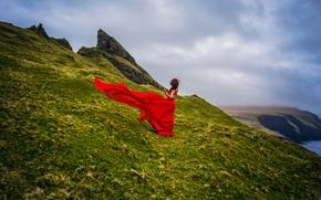 Picture girl, coast, Denmark, red dress, Faroe Islands, Faroe Islands, Denmark, Mykines, the island Mykines