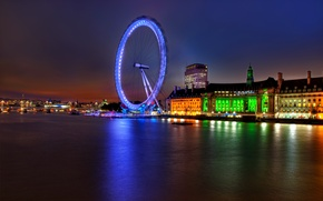 Picture lights, river, England, London, building, the evening, backlight, UK, Thames, architecture, river, capital, London, England, …