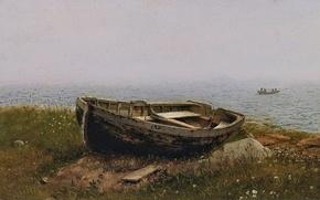 Picture sea, landscape, children, stones, shore, boat, picture, Frederic Edwin Church