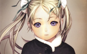 Picture face, hairstyle, fur, grey background, Cape, art, two tails, Range Murata, Last Exile, Exile, Alvis …