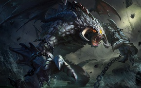 Picture water, stones, wings, fangs, chain, Dota 2, Roshan, Roshan