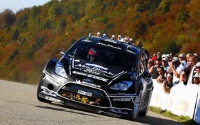 Picture Ford, Black, People, Ford, Asphalt, Lights, WRC, Rally, Rally, Fiesta, The front