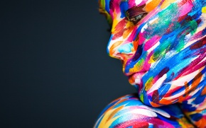 Wallpaper model, profile, look. paint, face, girl, color