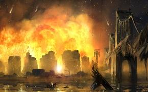Picture bridge, the city, fire, home, destruction, art, New York, the crysis 2