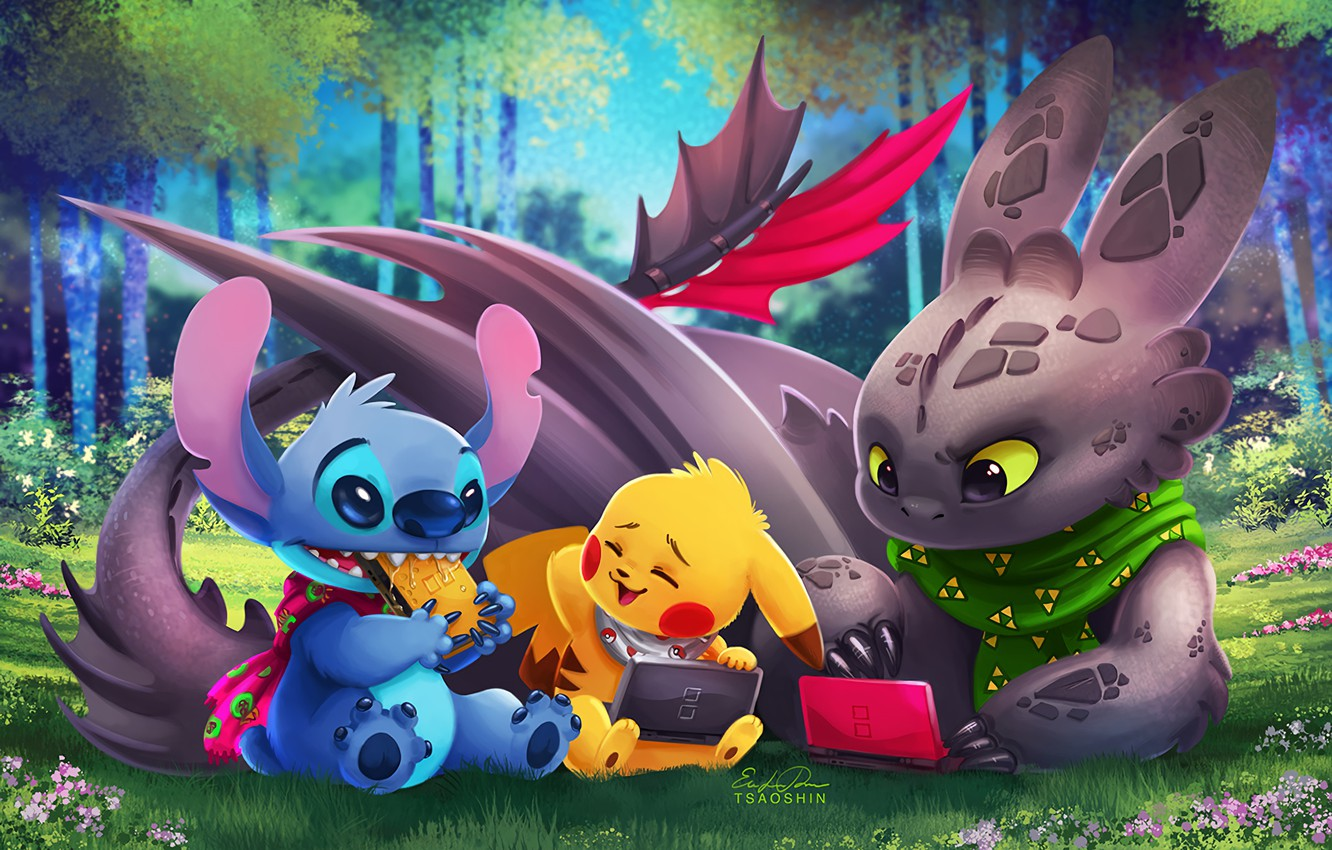 Wallpaper Pokemon Toothless Pikachu Crossover Lilo Stitch
