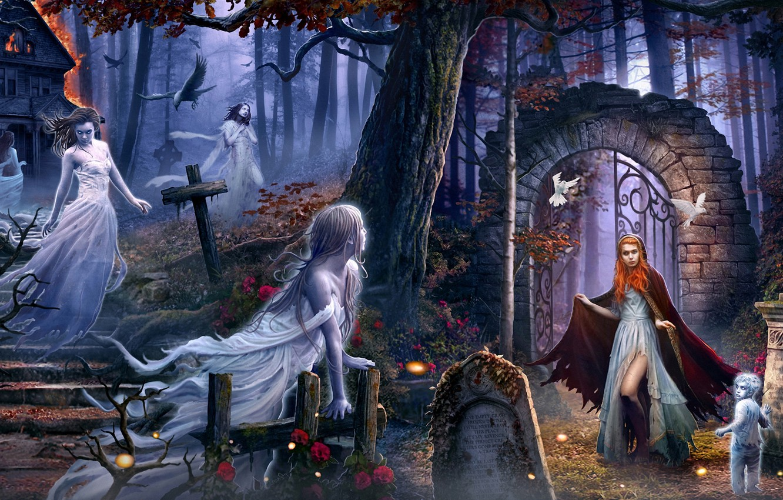 Photo wallpaper forest, birds, house, girls, fire, fire, child, spirit, arch, ghosts, cloak, the churchyard