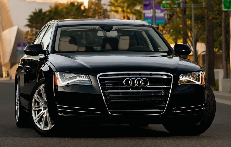 Photo wallpaper Audi, black, street, lights, Audi, sedan, quattro, the front, A8L, 4.2, fsi