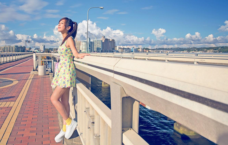 Photo wallpaper summer, girl, the sun, the city, dress