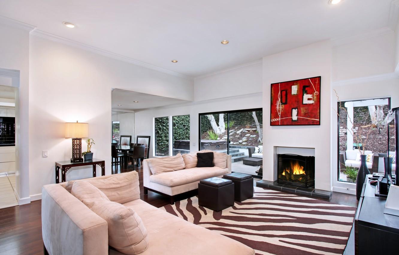 Photo wallpaper sofa, furniture, interior, fireplace, living room