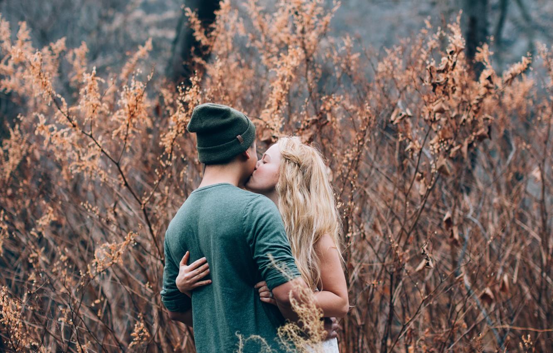 Photo wallpaper girl, kiss, pair, guy, lovers