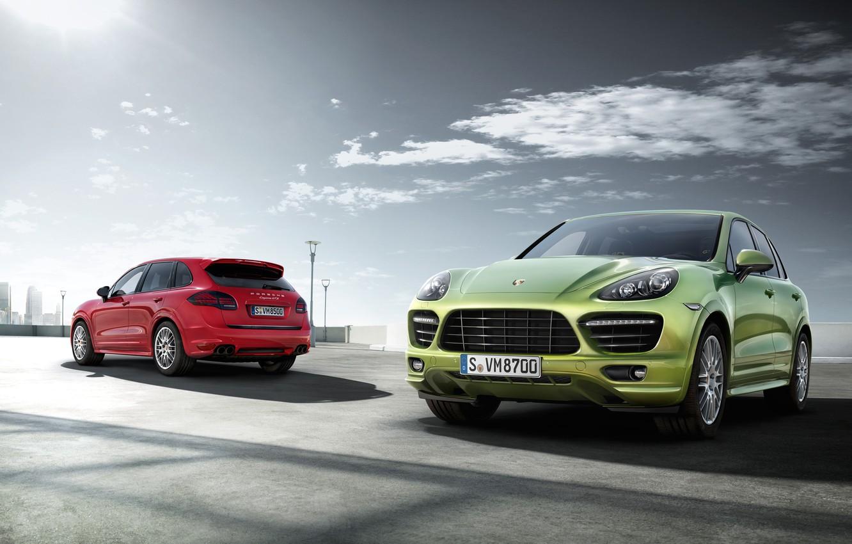 Photo wallpaper the sun, red, jeep, green, Porsche Cayenne