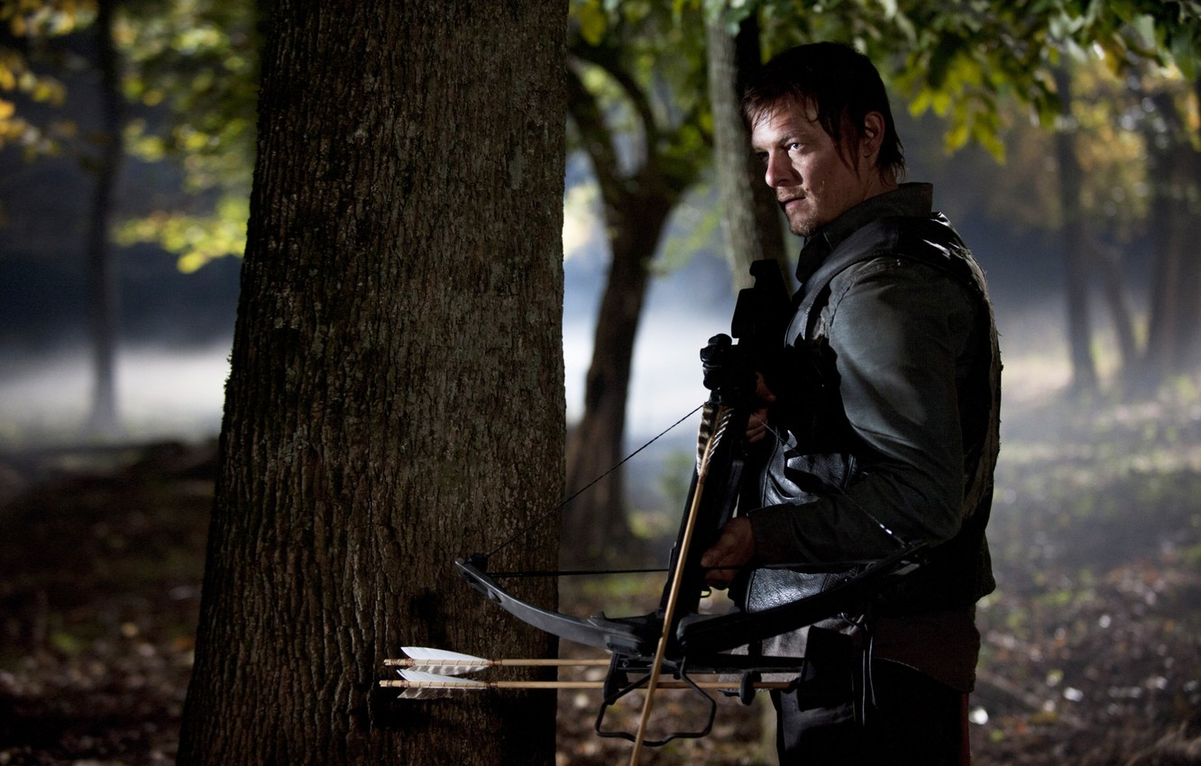 Photo wallpaper forest, zombies, zombie, the series, actor, crossbow, serial, The Walking Dead, The walking dead, Norman …