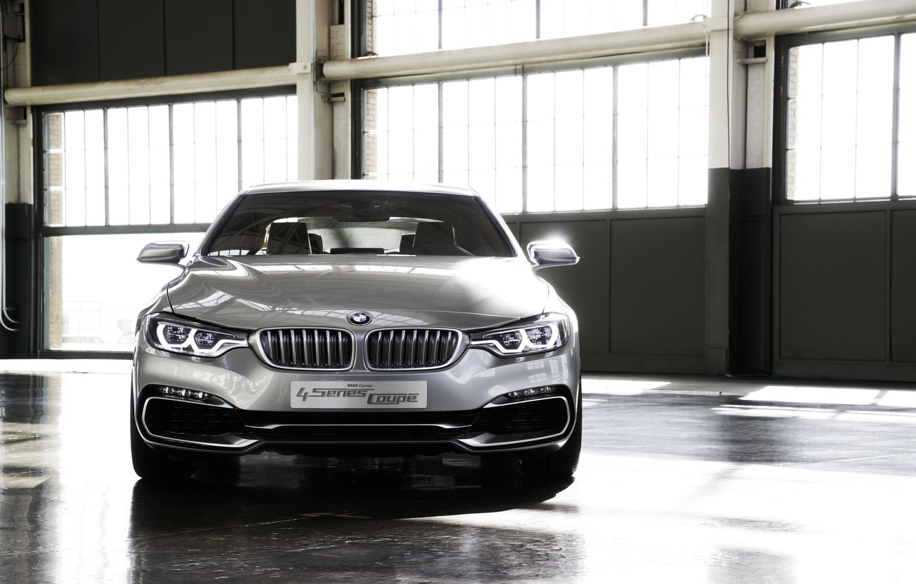 Photo wallpaper Concept, Auto, BMW, The concept, Grey, Silver, Lights, Coupe, the front, Chrome, 4 Series