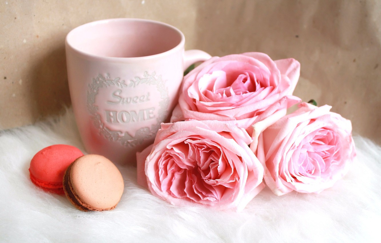 Photo wallpaper flowers, pink, roses, macaroni, cake
