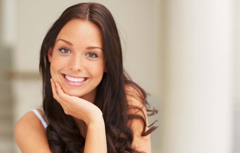 Photo wallpaper eyes, girl, face, smile, mood, teeth, brunette, beautiful