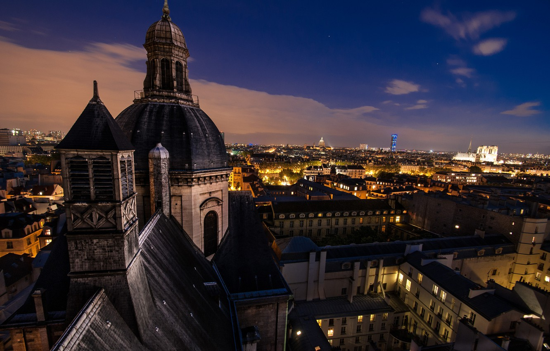 Photo wallpaper night, the city, France, Paris, building, home, roof, Paris, architecture, the dome, France