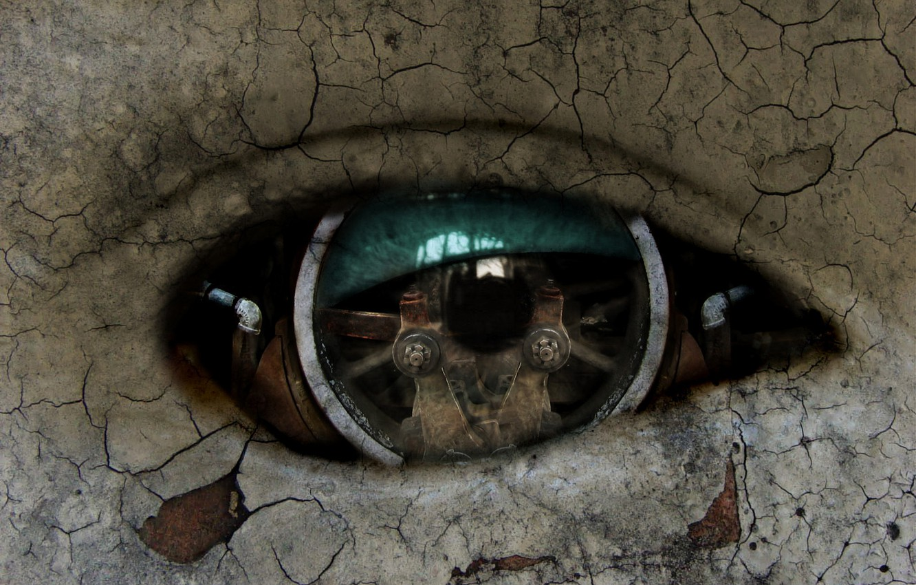 Photo wallpaper eyes, mechanism, robot, Android