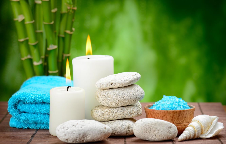 Photo wallpaper stones, Spa, stones, bamboo, candles, spa, salt, zen, bath salt
