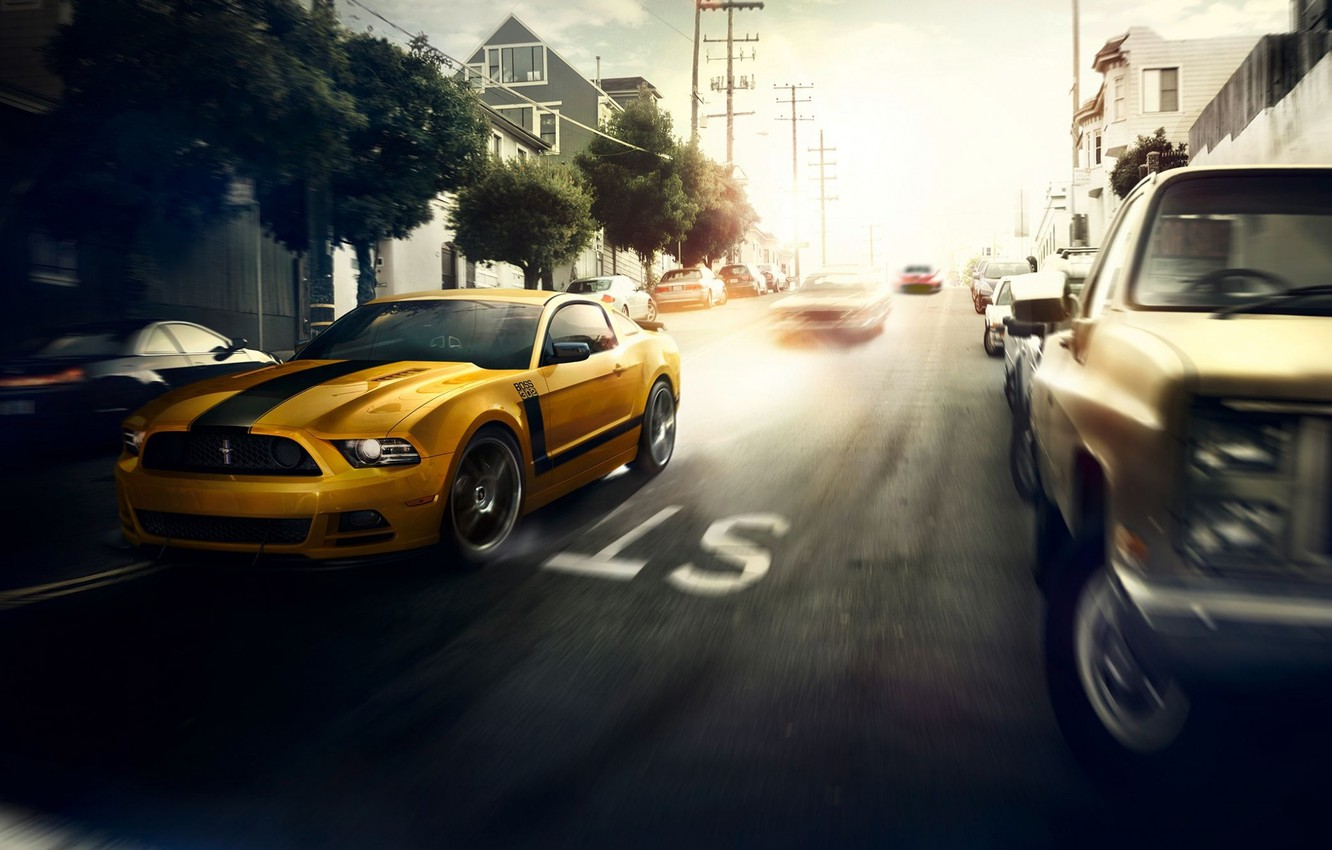 Photo wallpaper Mustang, Ford, Muscle, Car, Speed, Front, Sun, Street, San Francisco, Yellow, 302, Boss