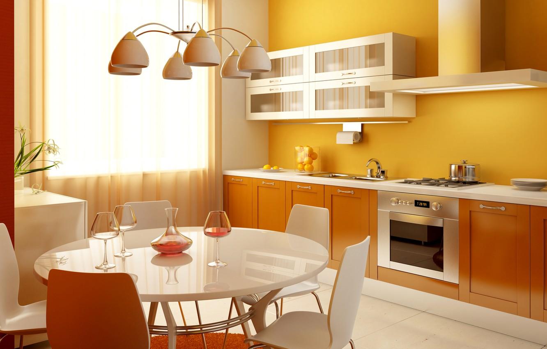 Photo wallpaper table, kitchen, plate, chandelier