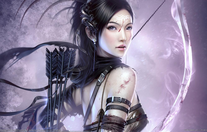 Photo wallpaper girl, bow, Archer