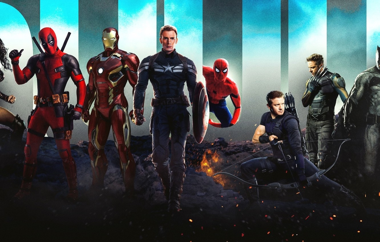 Wallpaper Batman Iron Man Deadpool Spider Man Superheroes