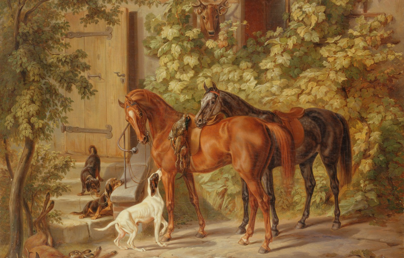 Photo wallpaper dogs, picture, horse, dobycha, after the hunt