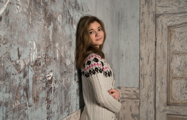 Photo wallpaper look, girl, hair, cardigan