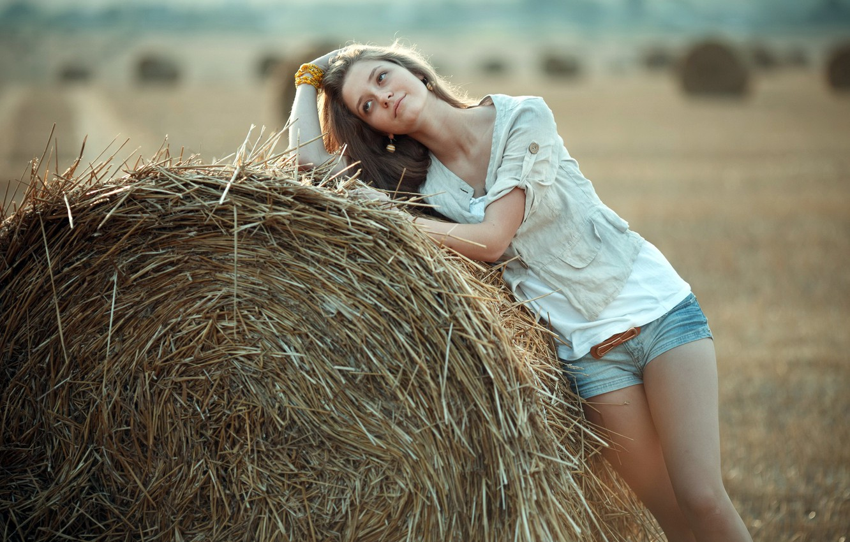 Photo wallpaper girl, mood, hay