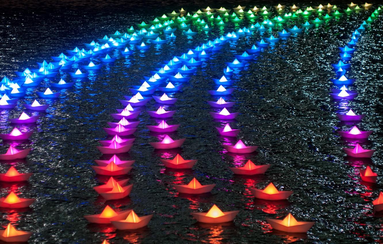 Wallpaper Rainbow Lights Colors Boats Paper Boats Images