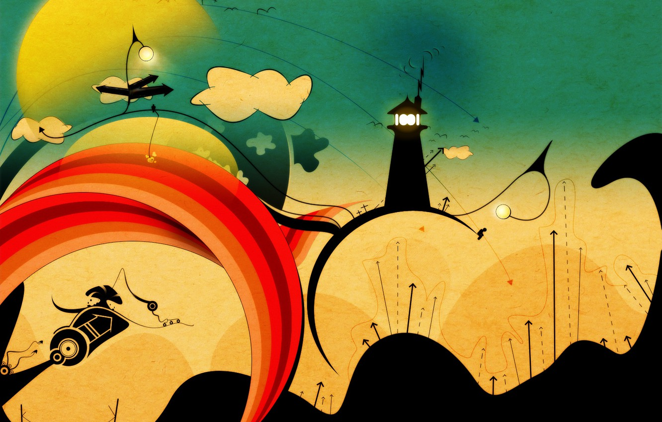 Photo wallpaper clouds, lighthouse, track, Vector, arrows