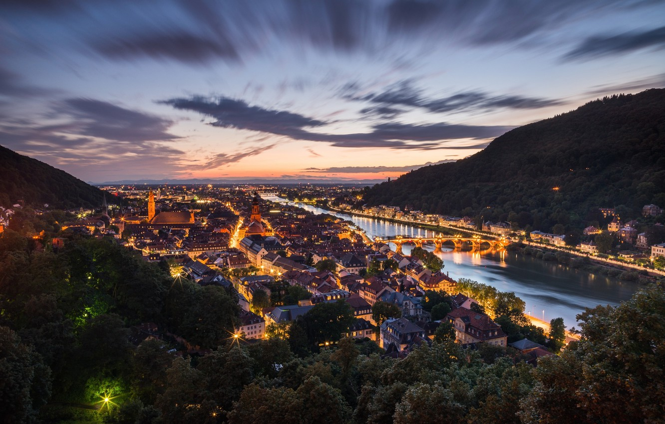 Photo wallpaper the city, lights, the evening, Germany, Heidelberg