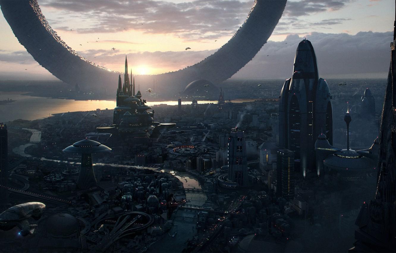 Photo wallpaper the sky, landscape, sunset, the city, future, fiction, skyscrapers, ring, megapolis, sci-fi