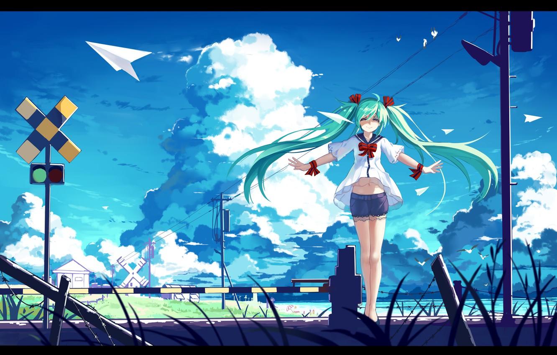 Photo wallpaper the sky, girl, clouds, birds, smile, posts, wire, anime, art, traffic light, vocaloid, hatsune miku, …