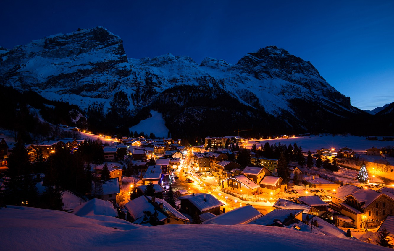 Photo wallpaper winter, light, snow, mountains, night, lights, France, building, home, village, Alps, France, Vanoise, Vanoise