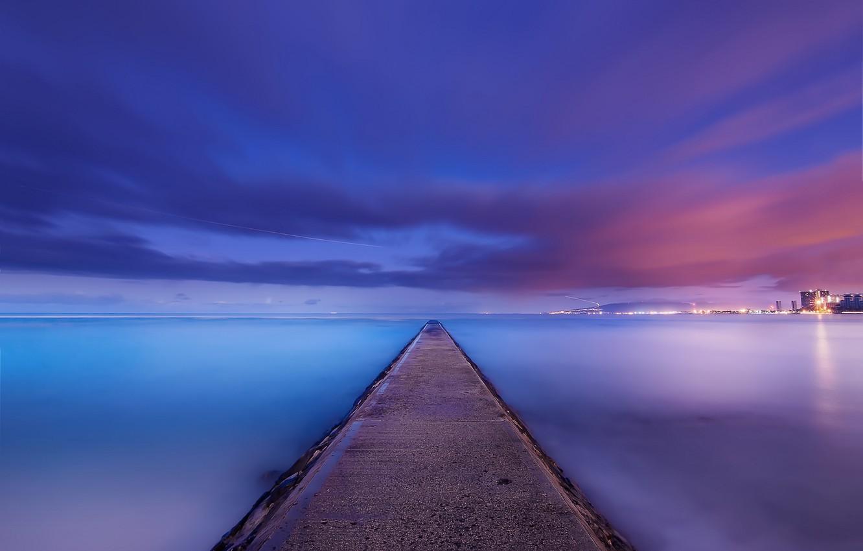 Photo wallpaper the sky, clouds, night, the city, lights, the ocean, shore, coast, Hawaii, calm, USA, USA, …
