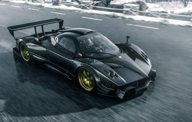 Photo wallpaper Pagani, Car, Race, Speed, Zonda R, Track, Spoiler