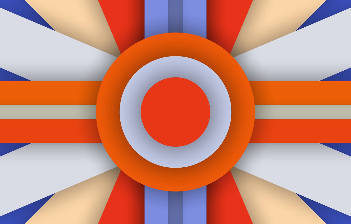 Photo wallpaper Orange, Android, Blue, Design, 5.0, Line, Colors, Lollipop, Stripes, Abstraction, Circle, Material