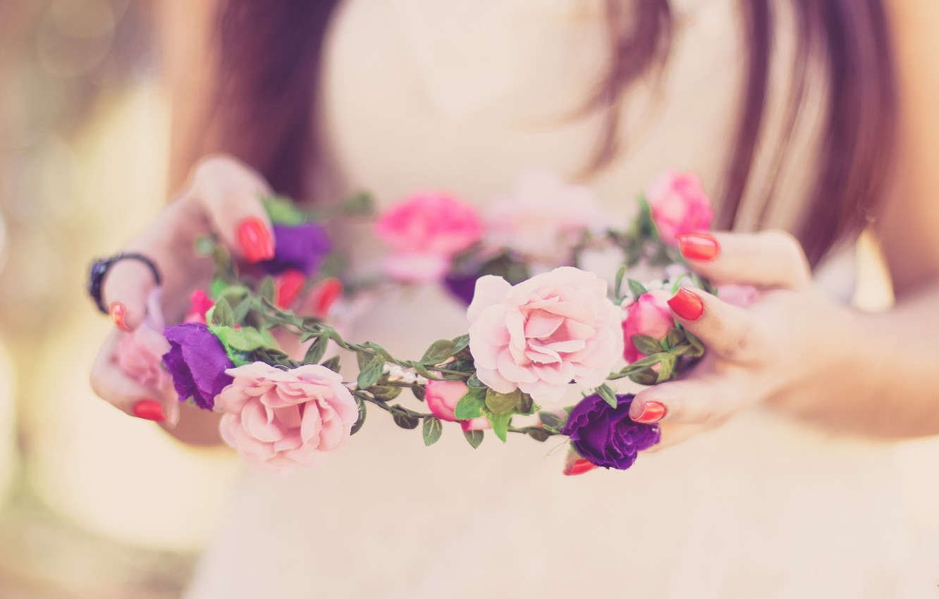 Photo wallpaper flowers, spring, happy, the bride, wreath, wedding, flowers, spring, lovely, wedding, bride, cute, wreath, happy