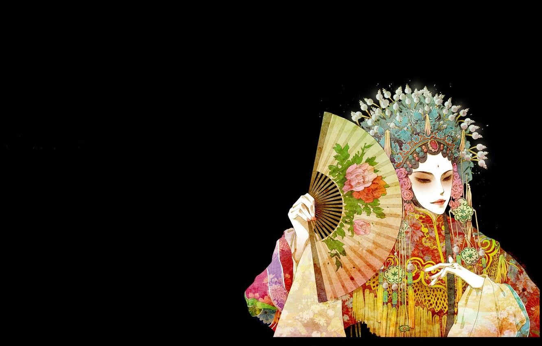 Photo wallpaper decoration, fan, Asian, black background, headdress