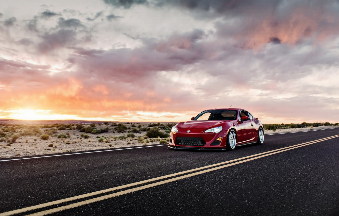 Photo wallpaper car, sunset, tuning, toyota gt86, lunchbox photoworks, scion fs-r