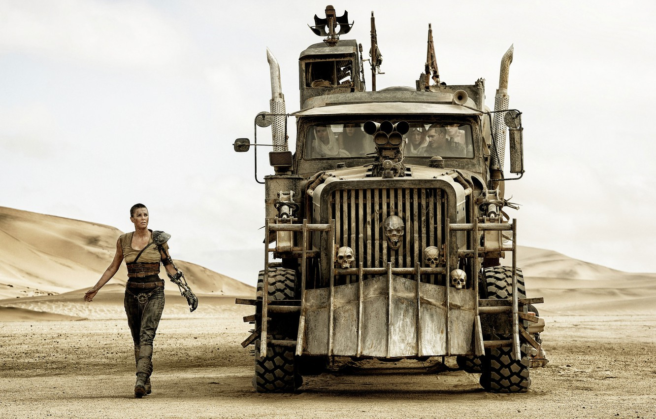 Photo wallpaper Charlize Theron, truck, Charlize Theron, the front, tractor, Mad Max, Fury Road, Mad Max, this …