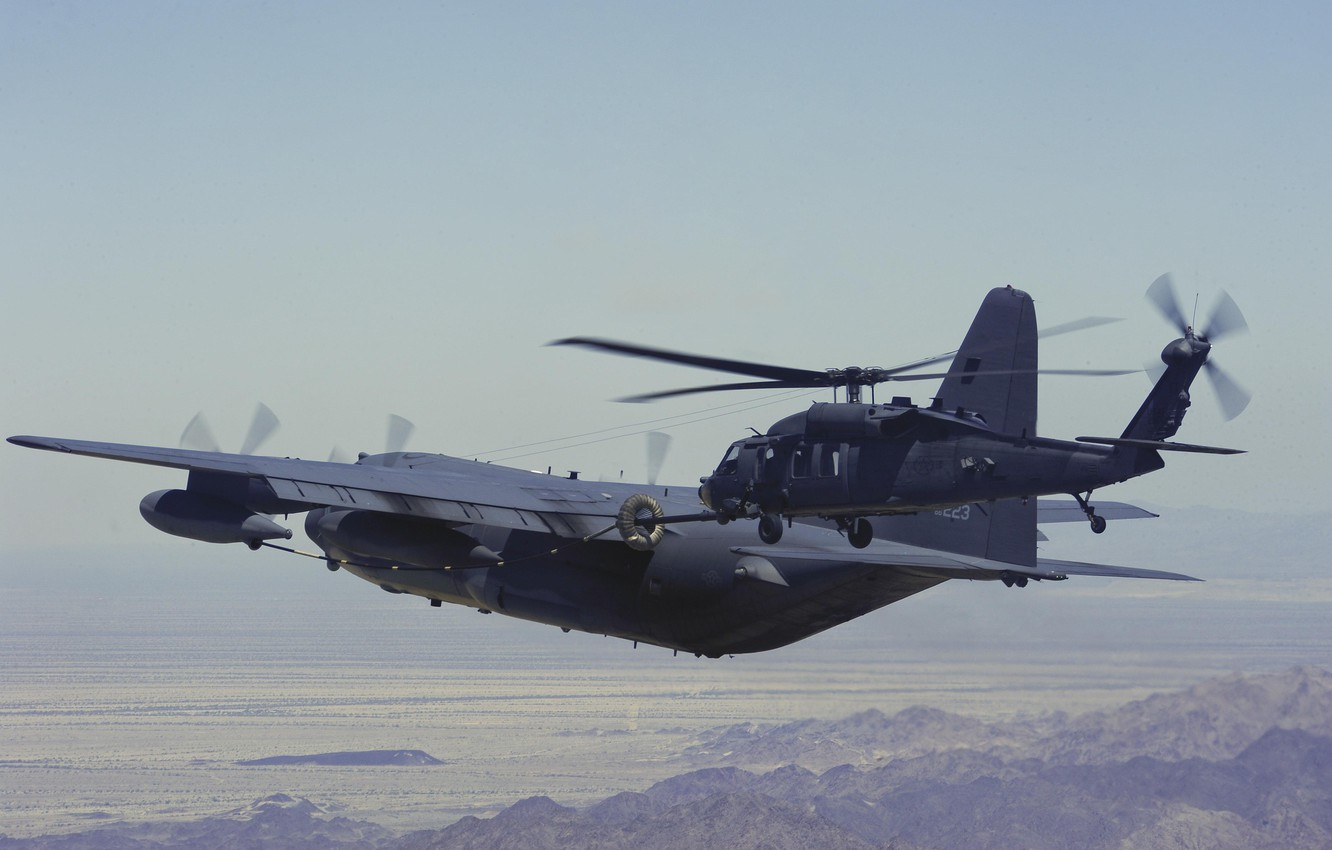 Photo wallpaper helicopter, flight, the plane, combat, military transport, Hercules, HH-60G, Pave Hawk, C-130P