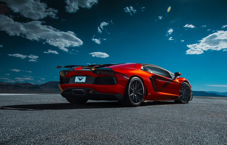 Photo wallpaper Lamborghini, Orange, Clouds, Sky, Vorsteiner, Supercar, Desert, Rear, Zaragoza, Aventador-V, LP740-4