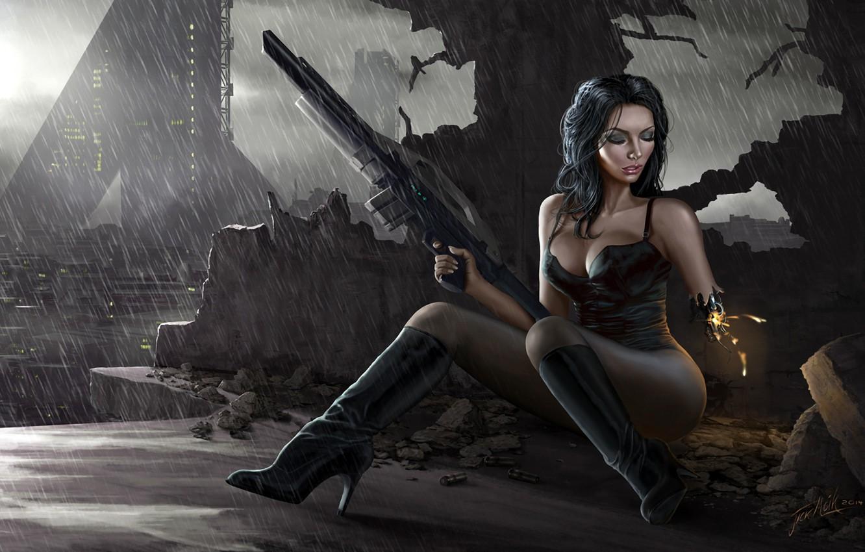 Photo wallpaper the city, rain, Girl, the ruins, cyborg, rifle
