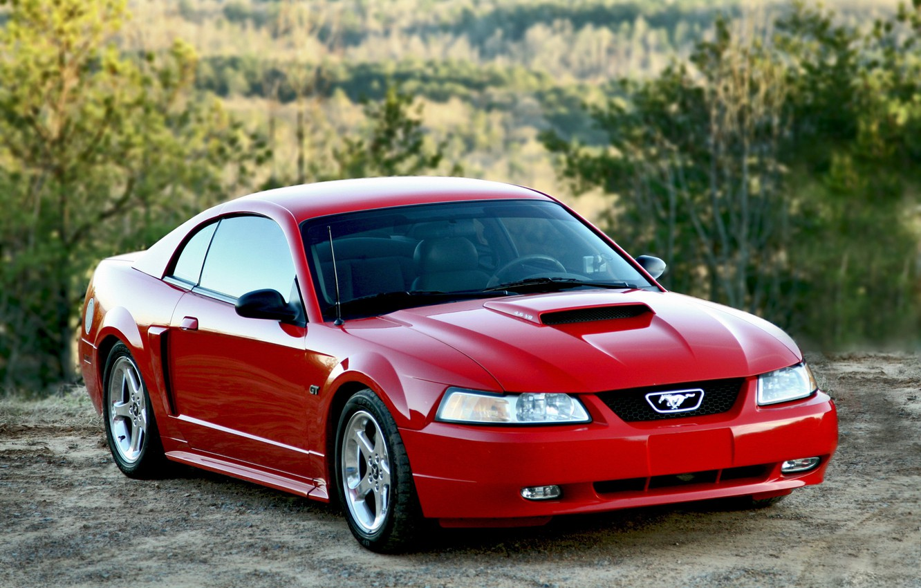 Photo wallpaper Mustang, Ford, red, 2004