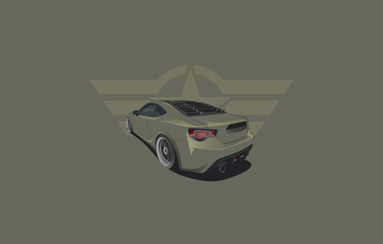 Photo wallpaper Subaru, Car, BRZ, Rear, Minimalistic, Haki