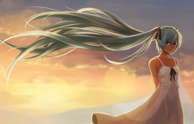 Photo wallpaper look, girl, sunset, smile, the wind, vocaloid, hatsune miku, Vocaloid, art, jacky