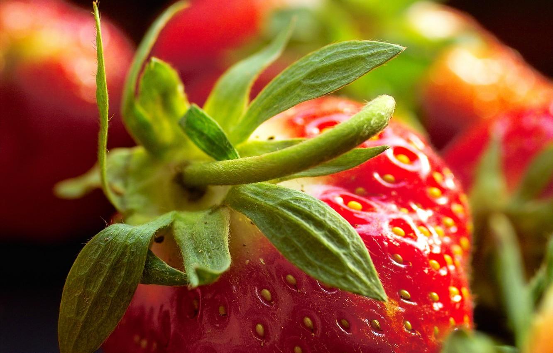 Photo wallpaper macro, strawberry, berry, red