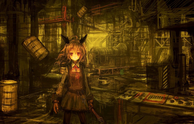 Photo wallpaper girl, plant, anime, key, art, bow, ears, barrels, lm7
